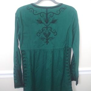 Lucky brand cotton embroidered bell sleeve dress